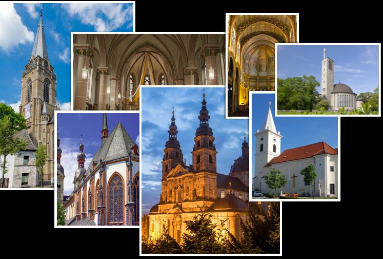 Bildercollage mit diversen Kirchen